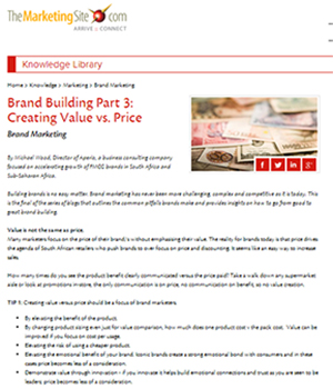 Brand Building Part 3: Creating Value vs. Price